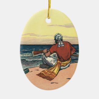 Ornement Ovale En Céramique Pirates vintages, abandonnés sur une île