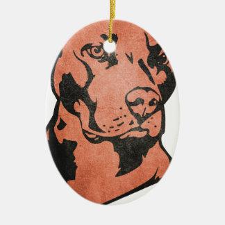 Ornement Ovale En Céramique Pitbull chien