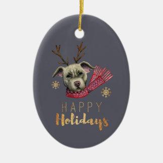 Ornement Ovale En Céramique Pitbull de renne de Noël avec des polices d'or de