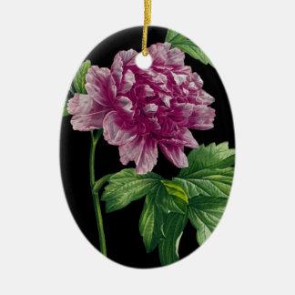 Ornement Ovale En Céramique Pivoine rose sur le noir