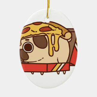 Ornement Ovale En Céramique Pizza Pug-01
