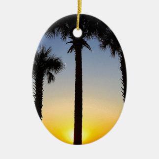 Ornement Ovale En Céramique Plage de ciel de palmier d'aube d'aube de lever de