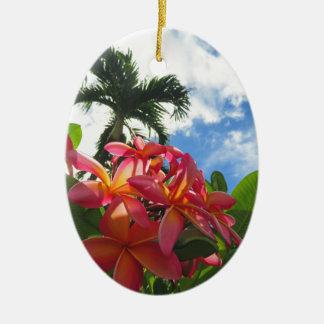 Ornement Ovale En Céramique Plumeria hawaïen