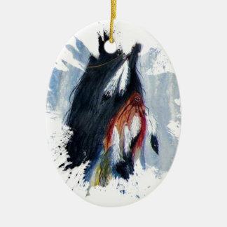 Ornement Ovale En Céramique Plumes d'Eagle d'aquarelle