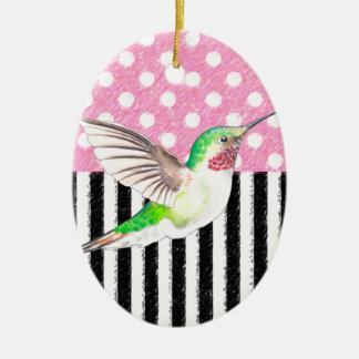 Ornement Ovale En Céramique Point de polka rose de colibri