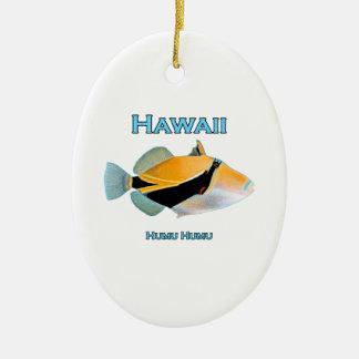 Ornement Ovale En Céramique Poissons d'Hawaï Humu Humu