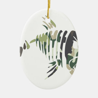 Ornement Ovale En Céramique Poissons fâchés de camouflage, pour le pêcheur