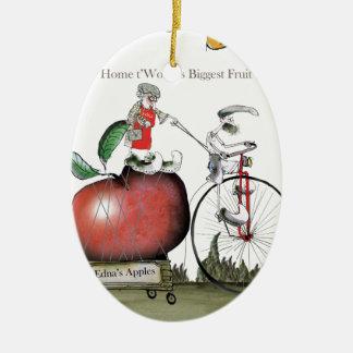 Ornement Ovale En Céramique Pommes de Yorkshire d'amour grandes
