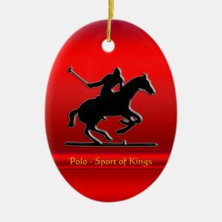 Ornement Ovale En Céramique Poney et cavalier de polo noirs sur le