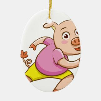 Ornement Ovale En Céramique porc