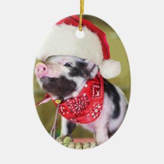 Ornement Ovale En Céramique Porc le père noël - porc de Noël - porcelet