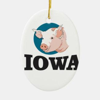 Ornement Ovale En Céramique porcs de l'Iowa