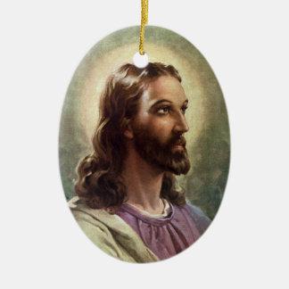 Ornement Ovale En Céramique Portrait religieux vintage, Jésus-Christ avec le