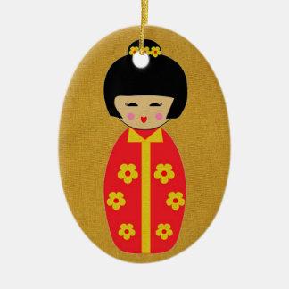 Ornement Ovale En Céramique Poupées asiatiques