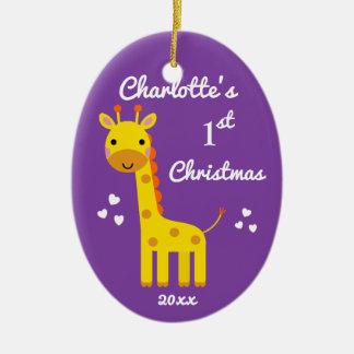 Ornement Ovale En Céramique Pourpre de cadeau de Noël du bébé de girafe