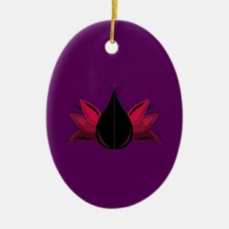 Ornement Ovale En Céramique Pourpre de lotus de santé