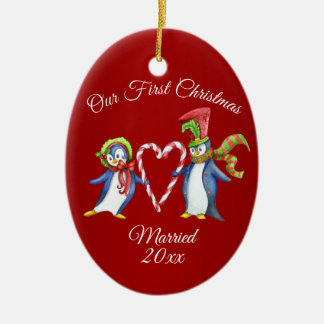 Ornement Ovale En Céramique Premières vacances de Noël de couples