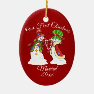 Ornement Ovale En Céramique Premiers bonhommes de neige de vacances de Noël de