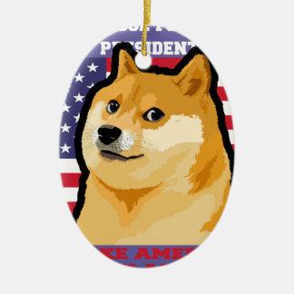 Ornement Ovale En Céramique Président de doge - doge chien-mignon de