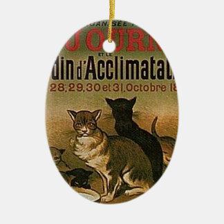 Ornement Ovale En Céramique Publicité française vintage - chats