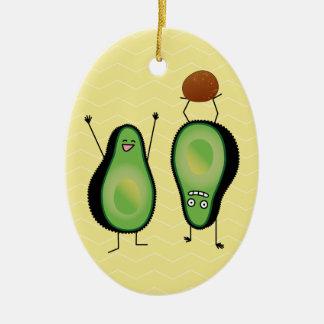 Ornement Ovale En Céramique Puits vert encourageant drôle d'appui renversé