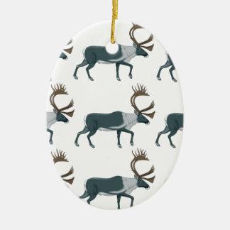 Ornement Ovale En Céramique Rangées de caribou