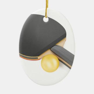 Ornement Ovale En Céramique Raquette et boule de ping-pong