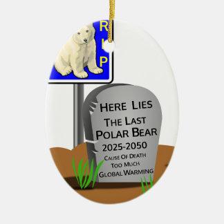 Ornement Ovale En Céramique Réchauffement climatique, ours blanc 2050 de