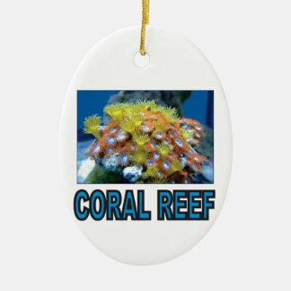 Ornement Ovale En Céramique récif coralien bleu ouais