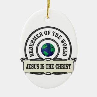 Ornement Ovale En Céramique rédempteur de seigneur du monde