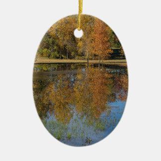 Ornement Ovale En Céramique Réflexions colorées d'étang d'automne