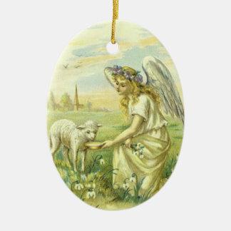 Ornement Ovale En Céramique Religion vintage, ange victorien de Pâques avec