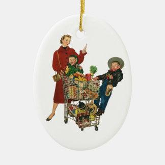 Ornement Ovale En Céramique Rétro famille, maman et enfants, épicerie de