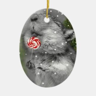 Ornement Ovale En Céramique Rêve de Noël de la gerbille