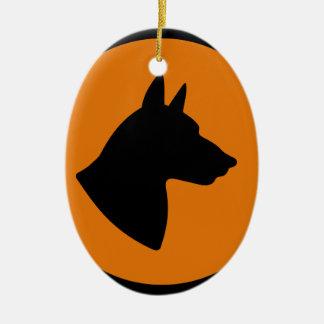 Ornement Ovale En Céramique Risque de chien