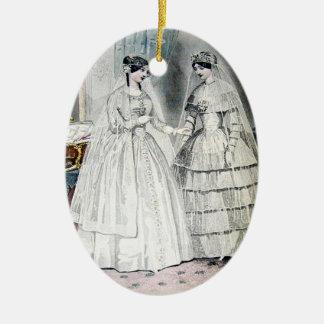 Ornement Ovale En Céramique Robe de mariage vintage de jeune mariée