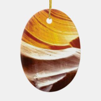 Ornement Ovale En Céramique roches bronzages du soleil d'orange