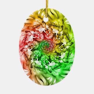 Ornement Ovale En Céramique Roi du cercle Rastafarian de mandala de fierté de