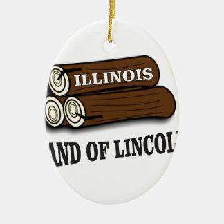 Ornement Ovale En Céramique Rondins de l'Illinois de Lincoln