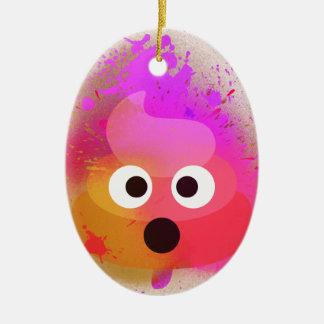 Ornement Ovale En Céramique Rose/pourpre de peinture de jet de dunette d'Emoji
