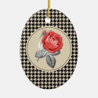 Ornement Ovale En Céramique Roses roses vintages et motif de pied-de-poule