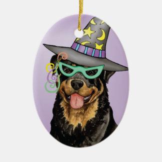 Ornement Ovale En Céramique Rottweiler de Halloween