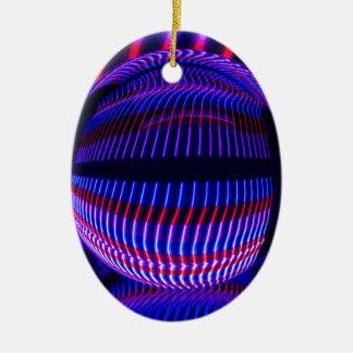 Ornement Ovale En Céramique Rouge et bleu dans la boule en verre