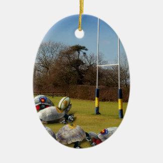 Ornement Ovale En Céramique Rugby de tortue