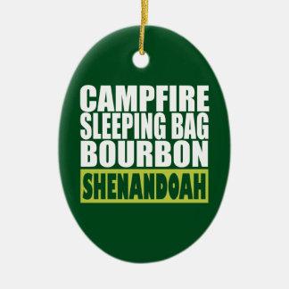 Ornement Ovale En Céramique Sac de couchage de feu de camp Bourbon Shenandoah