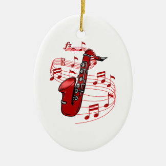 Ornement Ovale En Céramique Saxo rouge avec des notes de musique