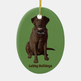 Ornement Ovale En Céramique Séance de chien de labrador retriever de chocolat