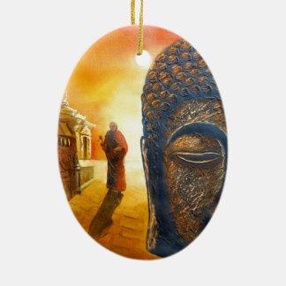 Ornement Ovale En Céramique Seigneur Gautama Buddha