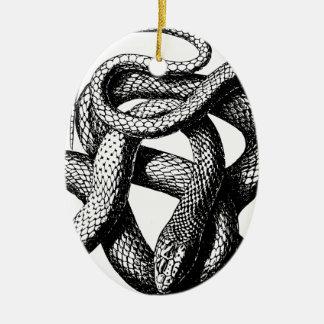 Ornement Ovale En Céramique Serpent tordu