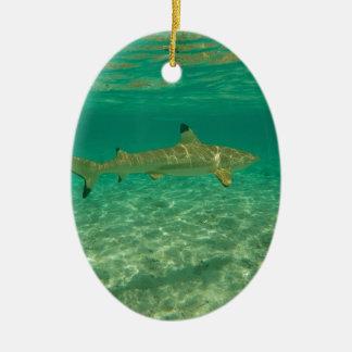 Ornement Ovale En Céramique Shark in bora bora